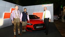 (L-R): Bernhard Steinrücke, Director General, IGCC; Rahil Ansari, Head of Audi India; and Dr. Jürgen Morhard, German Consul General in Mumbai; with the Audi RS 5, displayed at German Days in Mumbai 2.0