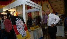 Bernhard Steinrücke, Director General, IGCC and Dr. Jürgen Morhard, German Consul General in Mumbai, take a look at Jungheinrich Lift Truck India's display